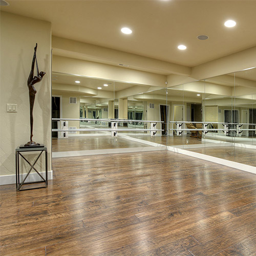 Dance Studio in New Home Basement