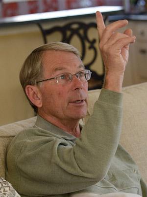 Ken motions toward where he first saw smoke
